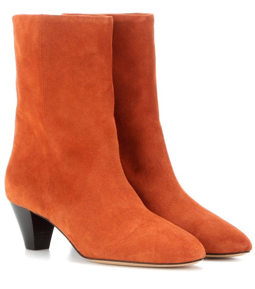 étoile Dyna Suede Boots - predominant colour: bright orange; occasions: casual, creative work; material: suede; heel height: mid; heel: cone; toe: round toe; boot length: ankle boot; style: standard; finish: plain; pattern: plain; season: s/s 2016; wardrobe: highlight
