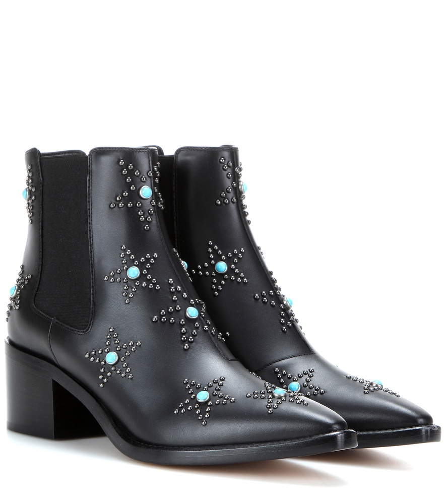 Starstudded Leather Ankle Boots - secondary colour: turquoise; predominant colour: black; occasions: casual; material: leather; heel height: mid; embellishment: studs; heel: block; toe: pointed toe; boot length: ankle boot; style: cowboy; finish: plain; pattern: plain; season: s/s 2016; wardrobe: highlight