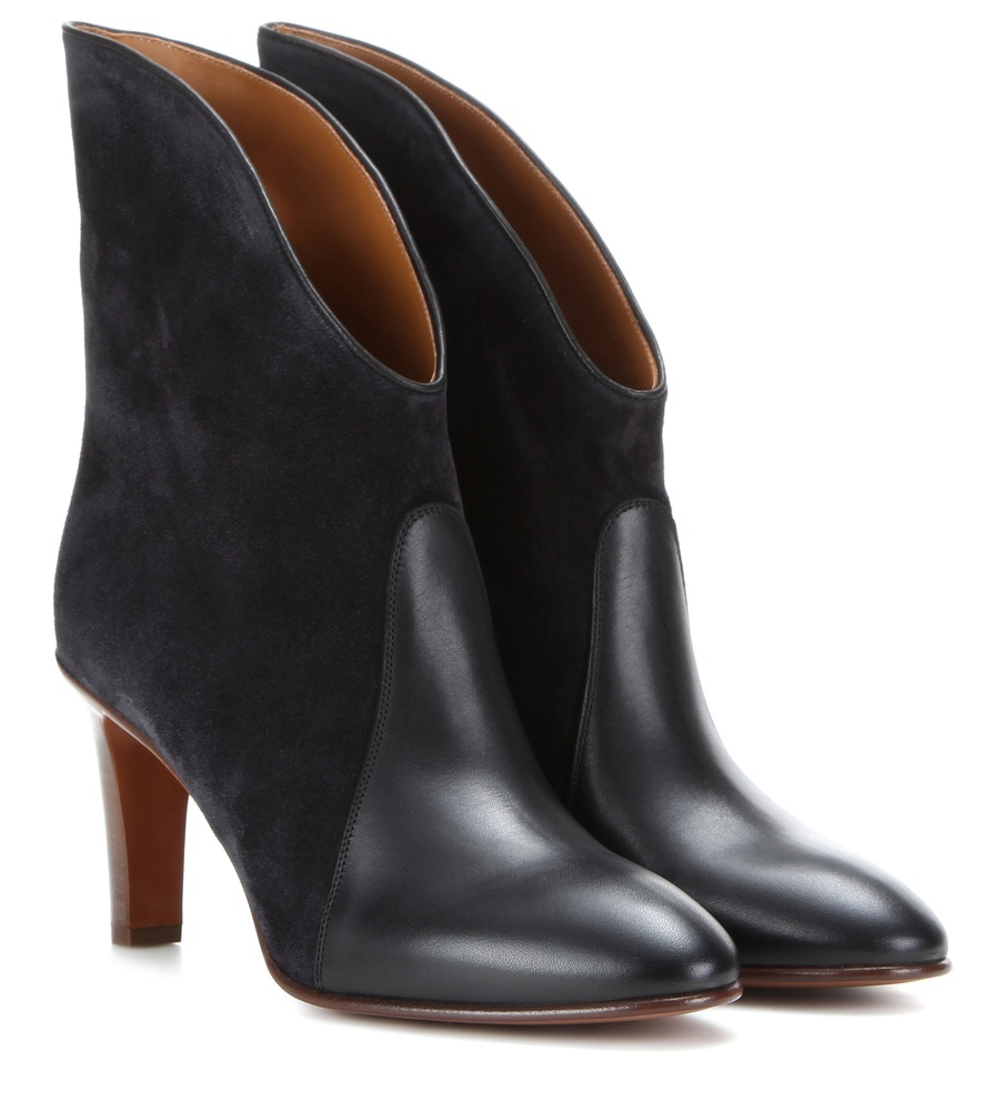 Kole Suede And Leather Ankle Boots - predominant colour: black; occasions: casual, creative work; material: leather; heel height: mid; heel: stiletto; toe: round toe; boot length: ankle boot; style: standard; finish: plain; pattern: plain; season: s/s 2016
