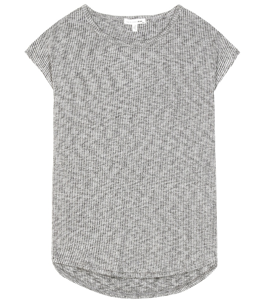 Highland Ribbed Top - sleeve style: capped; pattern: plain; predominant colour: light grey; occasions: casual; length: standard; style: top; fibres: polyester/polyamide - stretch; fit: body skimming; neckline: crew; sleeve length: short sleeve; texture group: knits/crochet; pattern type: knitted - other; season: s/s 2016; wardrobe: basic