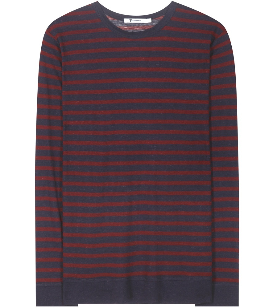 Striped Sweater - pattern: horizontal stripes; style: sweat top; hip detail: draws attention to hips; predominant colour: burgundy; secondary colour: navy; occasions: casual; length: standard; fit: body skimming; neckline: crew; sleeve length: long sleeve; sleeve style: standard; pattern type: fabric; texture group: jersey - stretchy/drapey; fibres: viscose/rayon - mix; multicoloured: multicoloured; season: s/s 2016; wardrobe: highlight