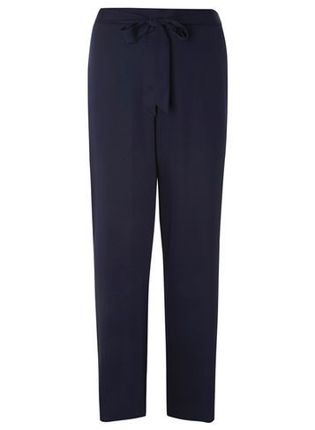 Womens Navy Satin Tie Palazzo Trousers Blue - length: standard; pattern: plain; style: palazzo; waist detail: belted waist/tie at waist/drawstring; waist: mid/regular rise; predominant colour: navy; occasions: evening; fibres: polyester/polyamide - 100%; texture group: structured shiny - satin/tafetta/silk etc.; fit: wide leg; pattern type: fabric; season: s/s 2016; wardrobe: event
