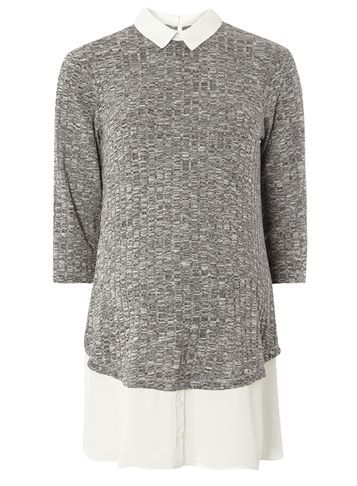 Womens **Maternity Grey Salt N Pepper 2 In 1 Top Grey - pattern: plain; length: below the bottom; secondary colour: white; predominant colour: mid grey; occasions: casual; style: top; fibres: polyester/polyamide - stretch; fit: body skimming; neckline: no opening/shirt collar/peter pan; sleeve length: 3/4 length; sleeve style: standard; pattern type: fabric; texture group: jersey - stretchy/drapey; multicoloured: multicoloured; season: s/s 2016; wardrobe: basic