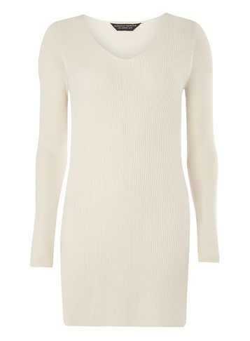 Womens Oat V Neck Rib Tunic Beige - neckline: v-neck; pattern: plain; length: below the bottom; style: tunic; predominant colour: ivory/cream; occasions: casual; fibres: viscose/rayon - 100%; fit: body skimming; sleeve length: long sleeve; sleeve style: standard; pattern type: fabric; texture group: jersey - stretchy/drapey; season: s/s 2016