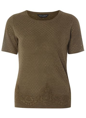 Womens Khaki Lace Hem Tee Green - pattern: plain; style: t-shirt; predominant colour: khaki; occasions: casual; length: standard; fibres: polyester/polyamide - mix; fit: body skimming; neckline: crew; sleeve length: short sleeve; sleeve style: standard; texture group: jersey - clingy; pattern type: fabric; embellishment: lace; season: s/s 2016; wardrobe: highlight