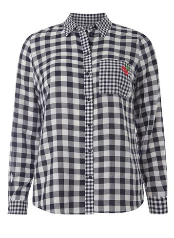 Womens Mixed Gingham Badged Shirt Blue - neckline: shirt collar/peter pan/zip with opening; pattern: checked/gingham; style: shirt; secondary colour: white; predominant colour: navy; occasions: casual; length: standard; fibres: cotton - 100%; fit: body skimming; sleeve length: long sleeve; sleeve style: standard; texture group: cotton feel fabrics; pattern type: fabric; pattern size: standard; multicoloured: multicoloured; season: s/s 2016; wardrobe: highlight