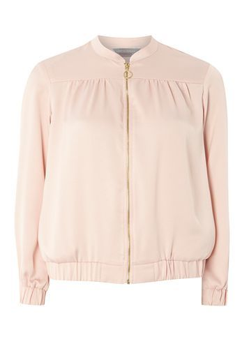 Womens Petite Blush Satin Bomber Pink - pattern: plain; collar: round collar/collarless; style: bomber; predominant colour: blush; occasions: casual, creative work; length: standard; fit: straight cut (boxy); fibres: polyester/polyamide - 100%; sleeve length: long sleeve; sleeve style: standard; texture group: crepes; collar break: high; pattern type: fabric; season: s/s 2016; wardrobe: basic