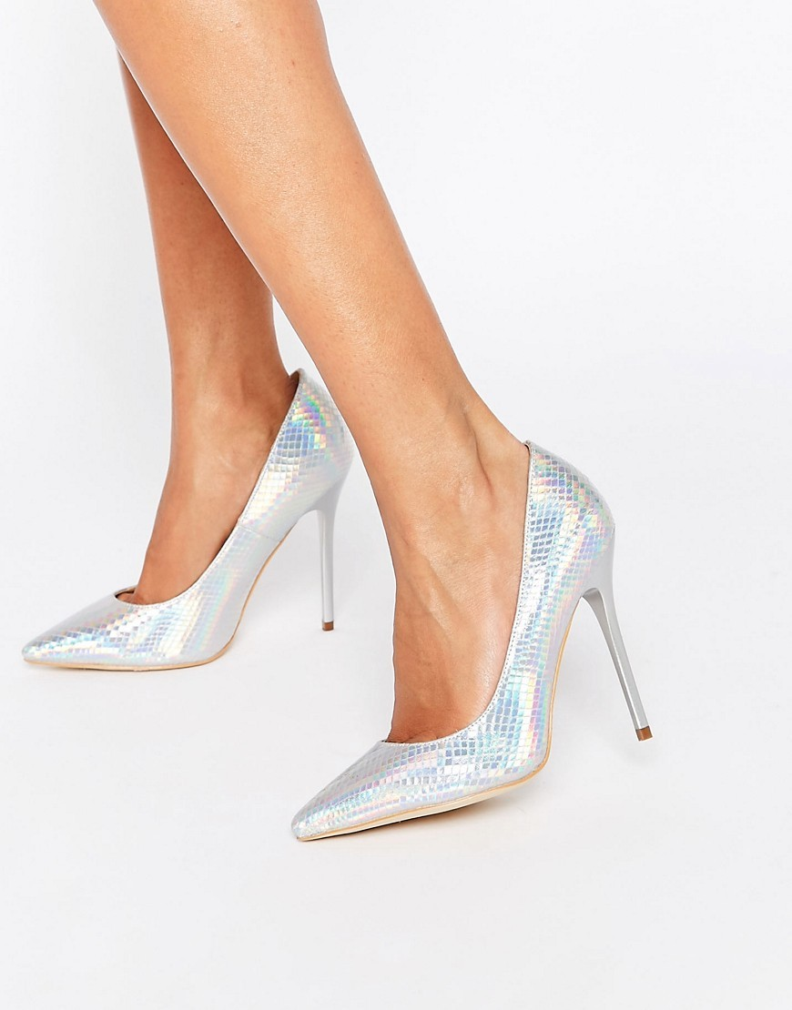 Josie Silver Irridescent Court Shoes Silver Mermaid - predominant colour: silver; occasions: evening, occasion; material: faux leather; heel height: high; heel: stiletto; toe: pointed toe; style: courts; finish: metallic; pattern: plain; season: s/s 2016