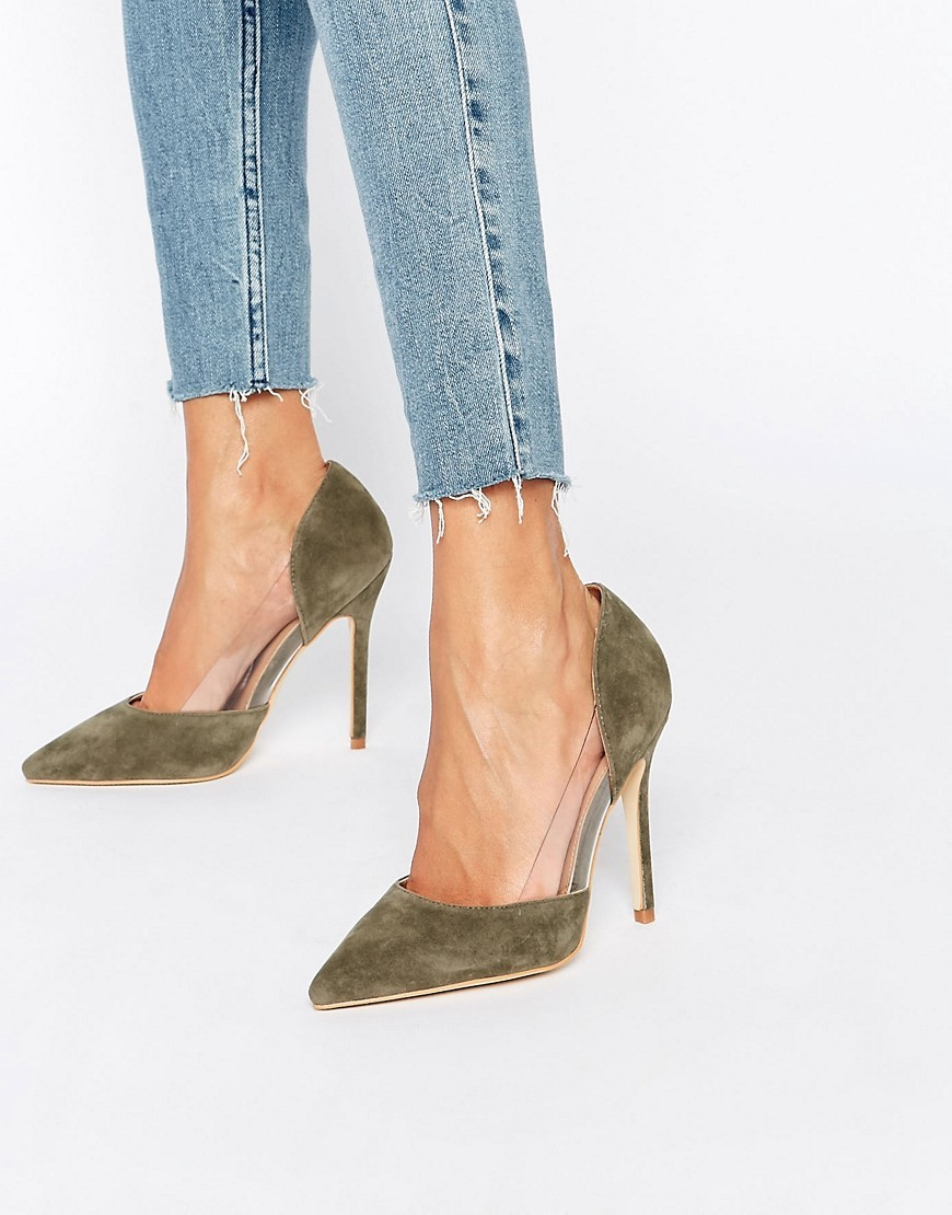 Keely Clear Detail Khaki Court Shoes Khaki Suede - predominant colour: khaki; occasions: evening, occasion, creative work; material: suede; heel: stiletto; toe: pointed toe; style: courts; finish: plain; pattern: plain; heel height: very high; season: s/s 2016; wardrobe: highlight
