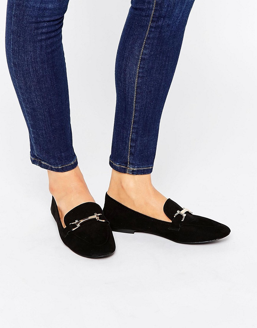 Magical Loafers Black - secondary colour: gold; predominant colour: black; occasions: casual, creative work; material: suede; heel height: flat; embellishment: snaffles; toe: round toe; style: loafers; finish: plain; pattern: plain; season: s/s 2016