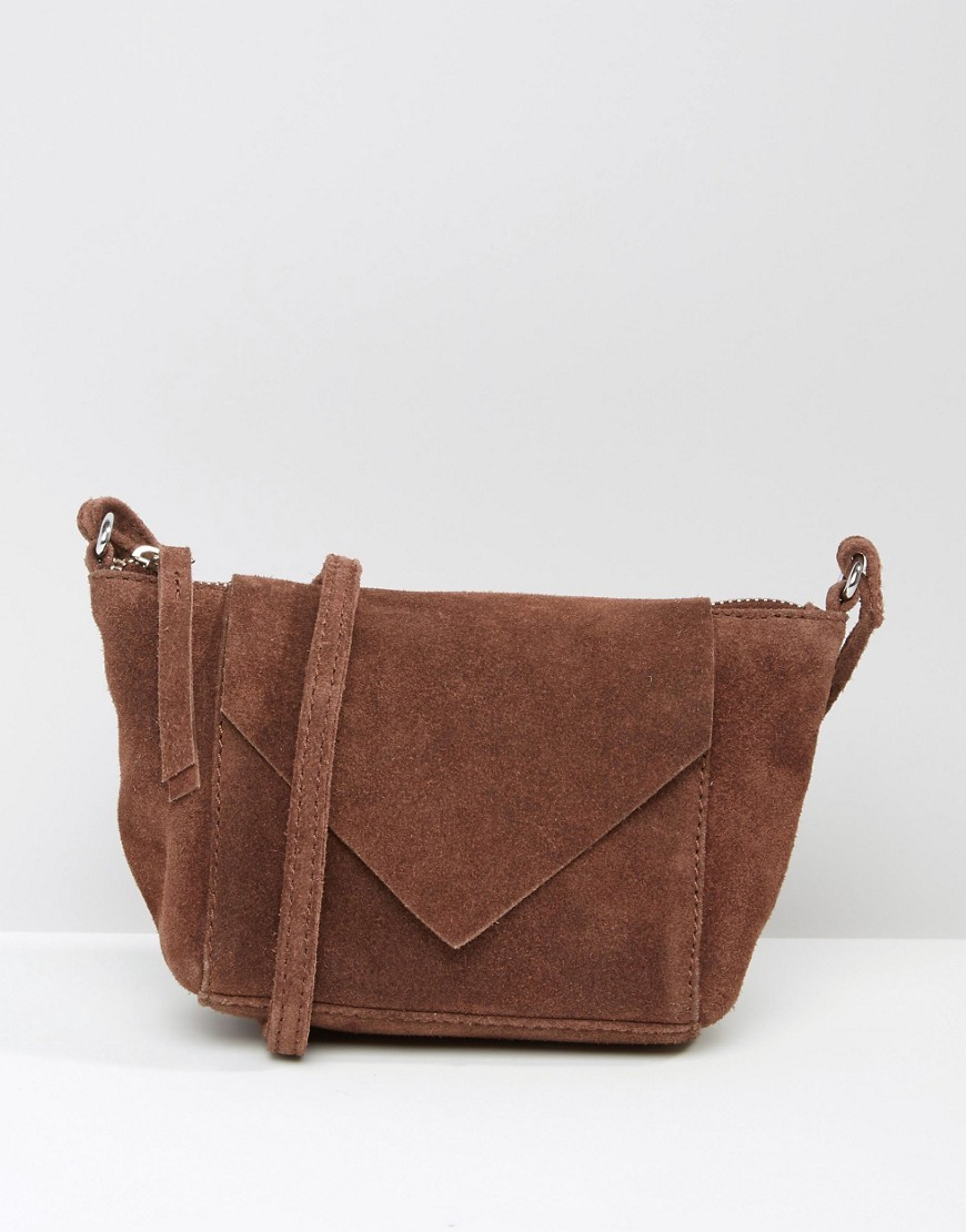 Festival Suede Cross Body Bag With V Front Chocolate - predominant colour: tan; occasions: casual, creative work; type of pattern: standard; style: shoulder; length: across body/long; size: standard; pattern: plain; finish: plain; material: faux suede; season: s/s 2016; wardrobe: highlight