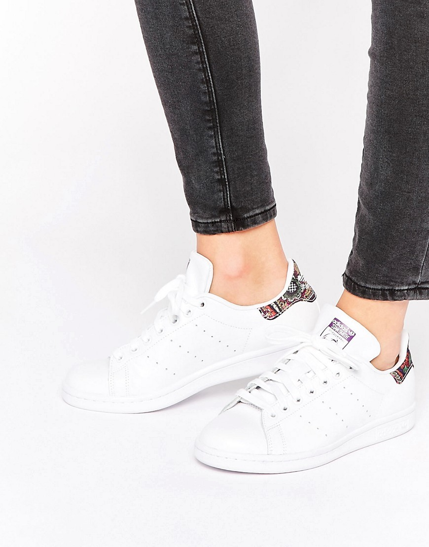 Originals X Farm White Stan Smith Trainers With Crochet Print Detail White - predominant colour: white; secondary colour: purple; occasions: casual, creative work; material: leather; heel height: flat; toe: round toe; style: trainers; finish: plain; pattern: patterned/print; season: s/s 2016; wardrobe: highlight