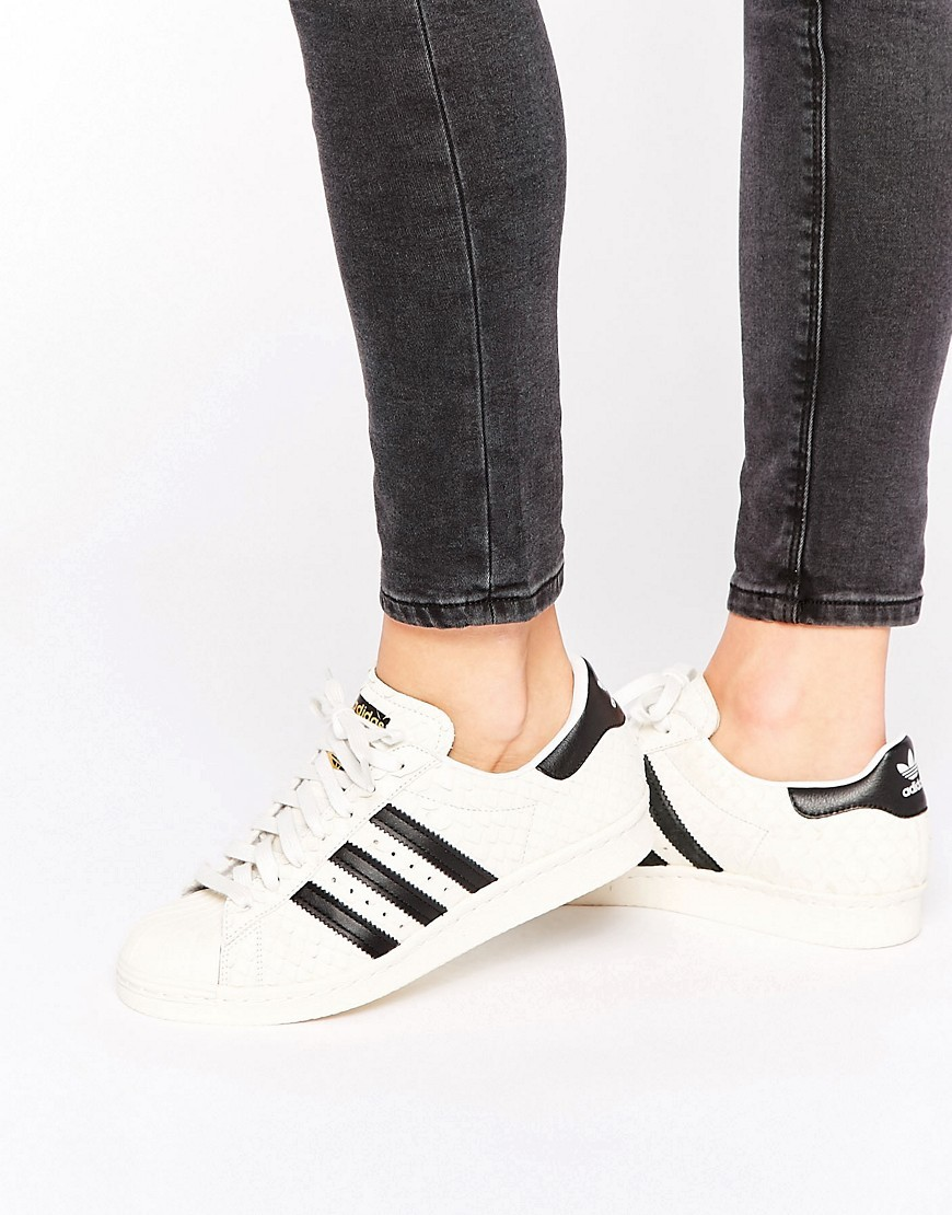 Originals Faux Snake White And Black Superstar Trainers White - predominant colour: white; secondary colour: black; occasions: casual, creative work; material: leather; heel height: flat; toe: round toe; style: trainers; finish: plain; pattern: colourblock; season: s/s 2016; wardrobe: highlight