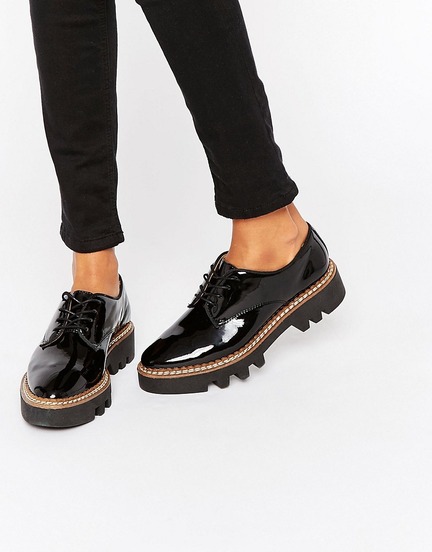Chunky Sole Patent Flat Shoes Black Patent - predominant colour: black; occasions: casual, creative work; material: faux leather; heel height: flat; toe: round toe; style: brogues; finish: patent; pattern: plain; shoe detail: platform with tread; season: s/s 2016; wardrobe: highlight