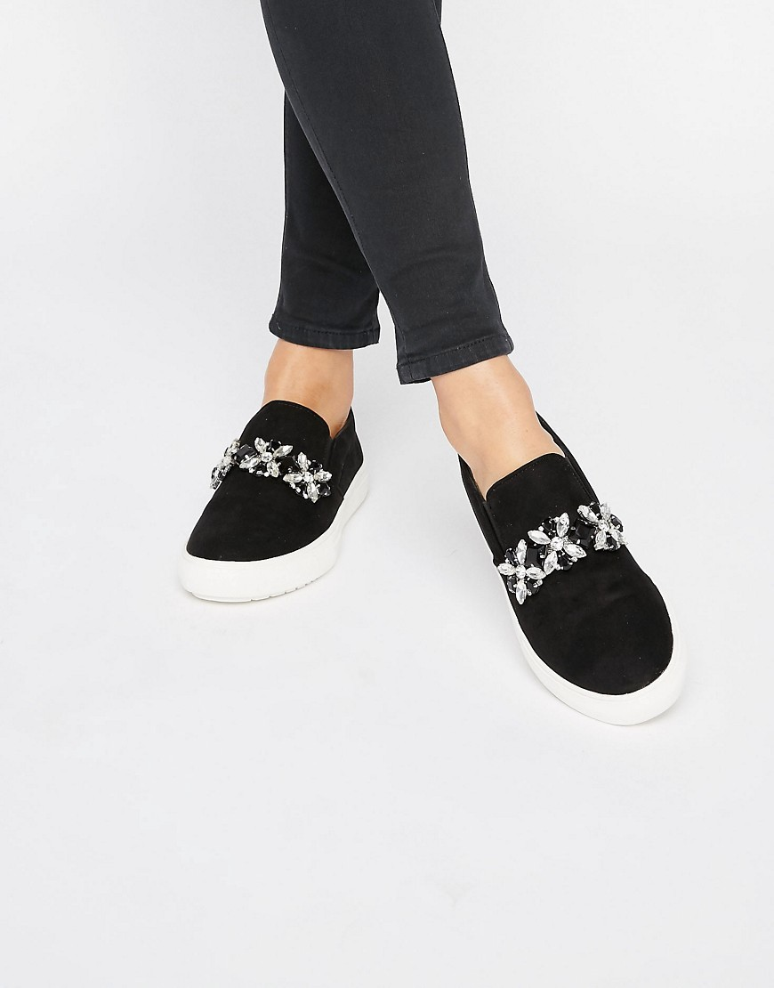 Jewelled Slip On Flatform Plimsolls Black Suedette - predominant colour: black; occasions: casual, creative work; heel height: flat; embellishment: jewels/stone; toe: round toe; style: flatforms; finish: plain; pattern: plain; material: faux suede; shoe detail: platform; season: s/s 2016; wardrobe: highlight