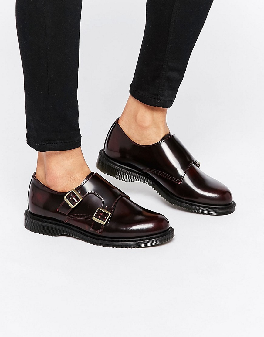 Pandora Double Monk Stap Flat Shoes Cherry Red Arcadia - predominant colour: chocolate brown; occasions: casual, creative work; material: leather; heel height: flat; embellishment: buckles; toe: round toe; style: loafers; finish: plain; pattern: plain; season: s/s 2016; wardrobe: basic