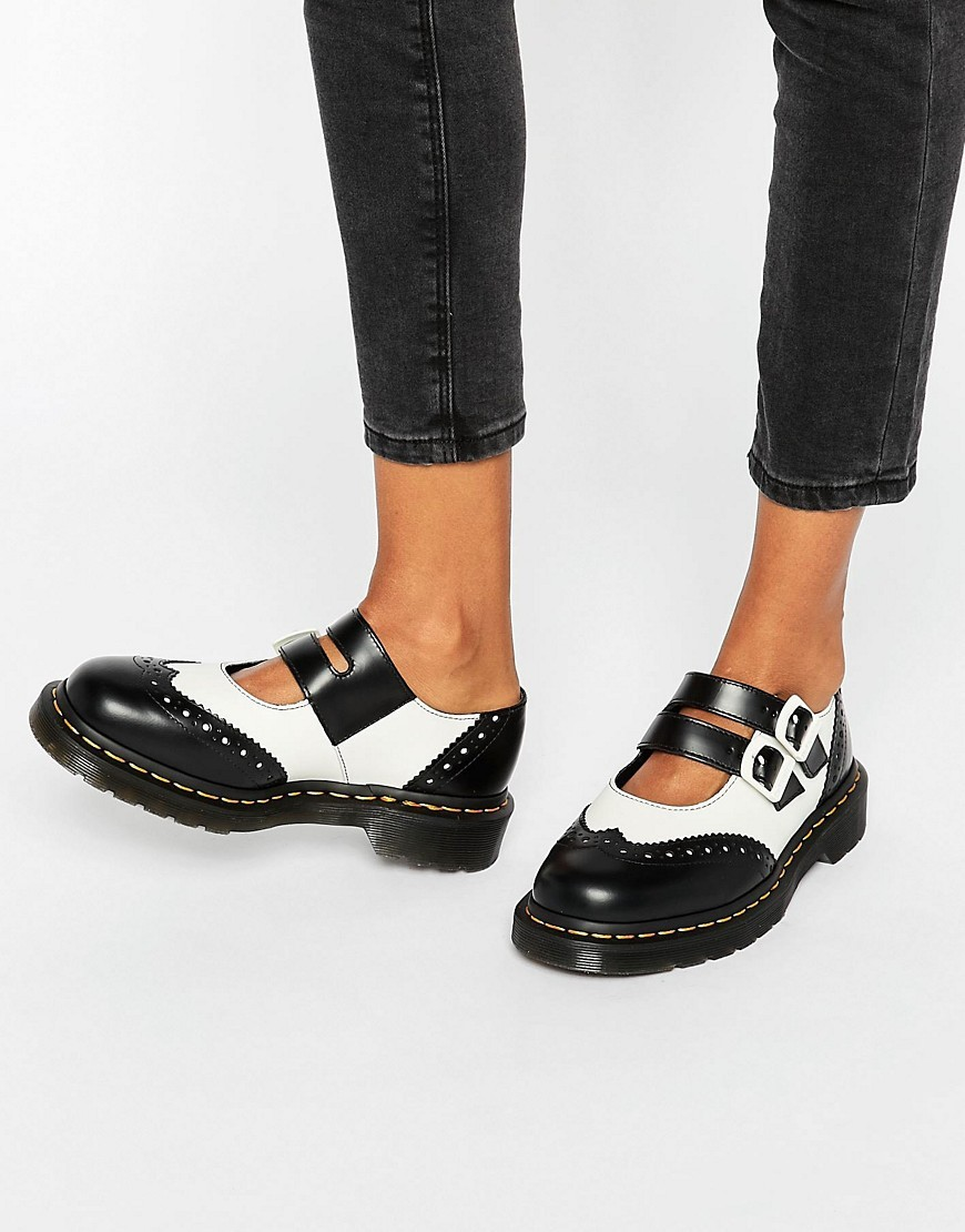 Adena Ii Mary Jane Flat Shoes Black Smooth / White - secondary colour: white; predominant colour: black; occasions: casual, creative work; material: leather; heel height: flat; toe: round toe; finish: plain; pattern: colourblock; style: mary janes; season: s/s 2016; wardrobe: highlight