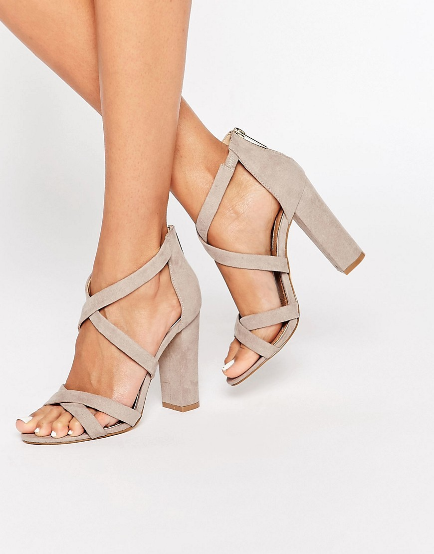 Sian Strappy Block Heeled Sandals Mink Suedette - predominant colour: stone; occasions: evening, occasion; heel height: high; ankle detail: ankle strap; heel: block; toe: open toe/peeptoe; style: strappy; finish: plain; pattern: plain; material: faux suede; season: s/s 2016; wardrobe: event