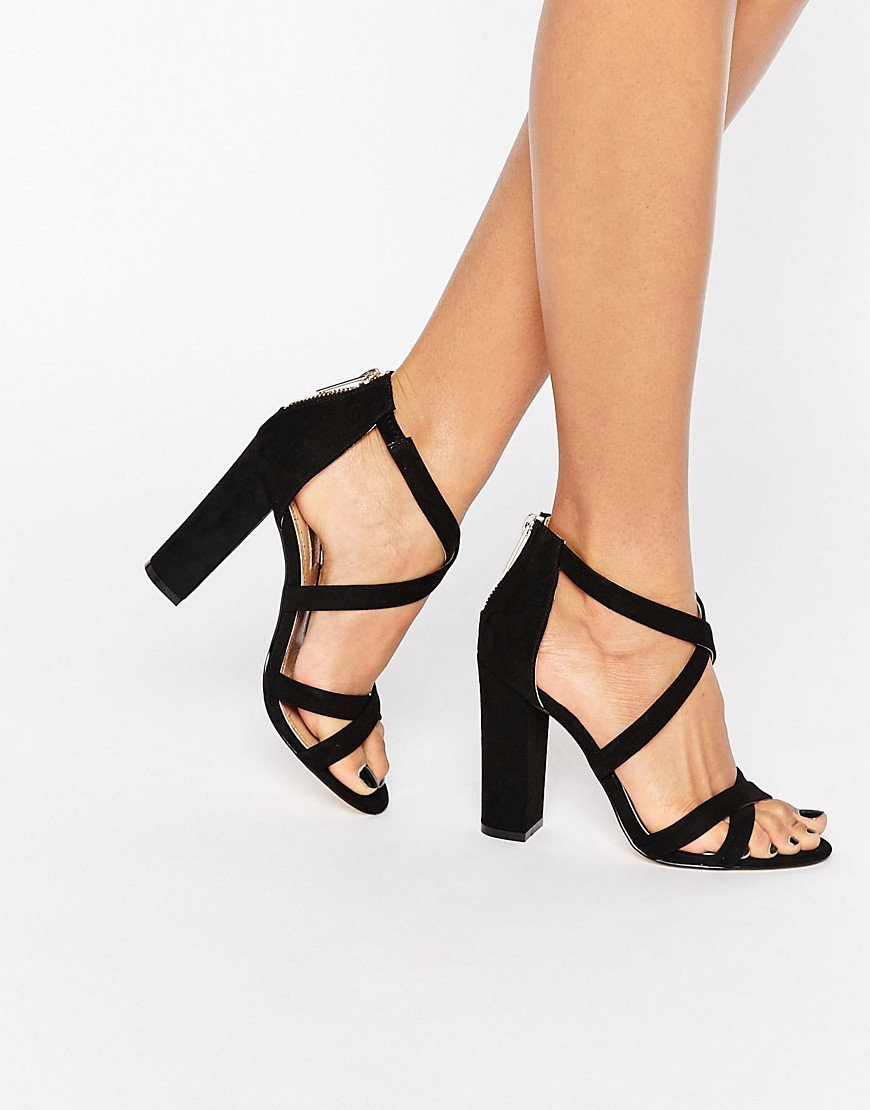 Sian Strappy Block Heeled Sandals Black Suedette - predominant colour: black; occasions: evening, occasion; heel height: high; ankle detail: ankle strap; heel: block; toe: open toe/peeptoe; style: strappy; finish: plain; pattern: plain; material: faux suede; season: s/s 2016; wardrobe: event