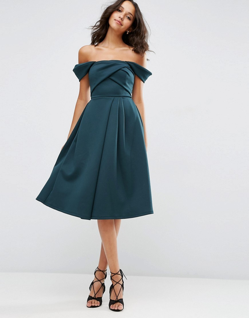 Fold Detail Bardot Scuba Prom Dress Forest Green - length: below the knee; neckline: off the shoulder; sleeve style: capped; pattern: plain; style: full skirt; predominant colour: teal; occasions: evening; fit: fitted at waist & bust; fibres: polyester/polyamide - stretch; sleeve length: short sleeve; texture group: structured shiny - satin/tafetta/silk etc.; pattern type: fabric; season: s/s 2016