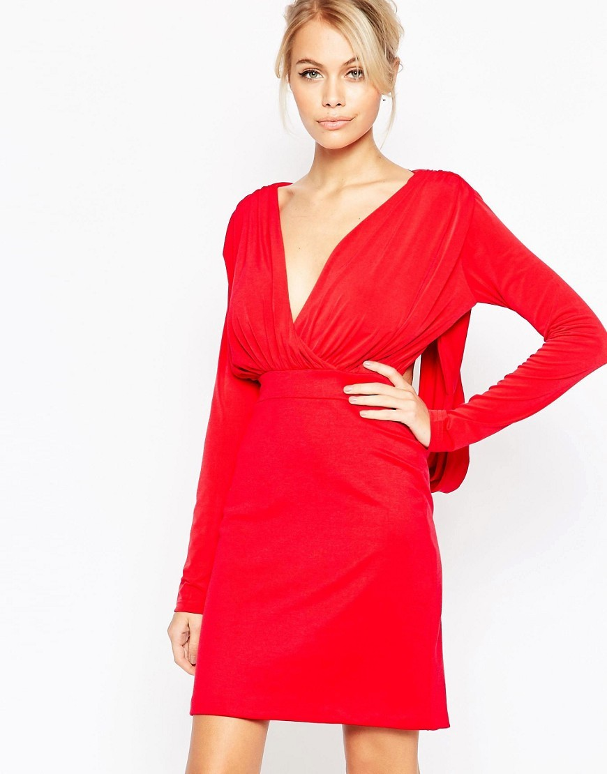Gabby Long Sleeve Plunge Dress Red - style: faux wrap/wrap; neckline: low v-neck; pattern: plain; back detail: back revealing; predominant colour: true red; occasions: evening; length: just above the knee; fit: body skimming; fibres: polyester/polyamide - stretch; sleeve length: long sleeve; sleeve style: standard; pattern type: fabric; texture group: jersey - stretchy/drapey; season: s/s 2016; wardrobe: event