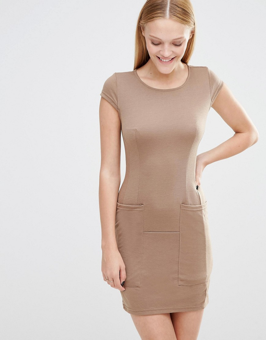 Cap Sleeve Shift Dress With Pockets Mocha - style: shift; length: mid thigh; neckline: round neck; fit: tight; pattern: plain; predominant colour: nude; occasions: evening; fibres: cotton - stretch; sleeve length: short sleeve; sleeve style: standard; texture group: jersey - clingy; pattern type: fabric; season: s/s 2016; wardrobe: event