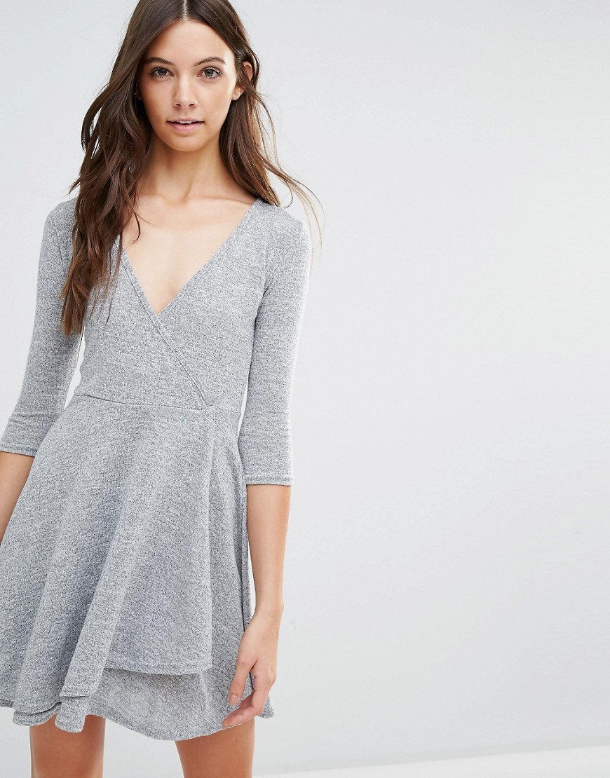 Wrap Dress Grey - style: faux wrap/wrap; neckline: low v-neck; pattern: plain; predominant colour: light grey; occasions: casual; length: just above the knee; fit: body skimming; fibres: polyester/polyamide - stretch; sleeve length: 3/4 length; sleeve style: standard; pattern type: fabric; texture group: jersey - stretchy/drapey; season: s/s 2016; wardrobe: basic