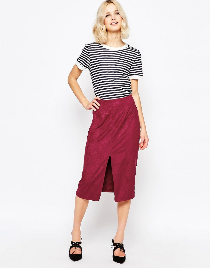 Faux Suede Pencil Skirt Burgandy - length: below the knee; pattern: plain; style: pencil; fit: body skimming; waist: mid/regular rise; predominant colour: burgundy; occasions: evening; fibres: polyester/polyamide - 100%; pattern type: fabric; texture group: suede; season: s/s 2016