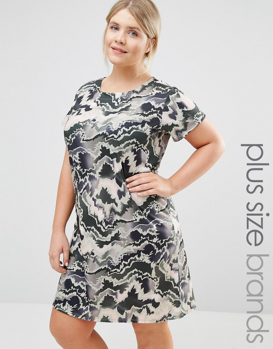 Camo Print Tshirt Dress Multi - style: t-shirt; secondary colour: white; predominant colour: charcoal; occasions: casual; length: just above the knee; fit: body skimming; fibres: polyester/polyamide - stretch; neckline: crew; sleeve length: short sleeve; sleeve style: standard; pattern type: fabric; pattern size: big & busy; texture group: jersey - stretchy/drapey; pattern: camouflage; multicoloured: multicoloured; season: s/s 2016; wardrobe: highlight