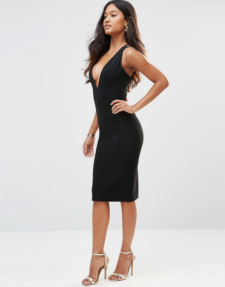 Plunge Neck Ribbed Dress With Strappy Back Black - neckline: low v-neck; fit: tight; pattern: plain; sleeve style: sleeveless; style: bodycon; predominant colour: black; occasions: evening; length: on the knee; fibres: polyester/polyamide - stretch; sleeve length: sleeveless; texture group: jersey - clingy; pattern type: fabric; season: s/s 2016; wardrobe: event