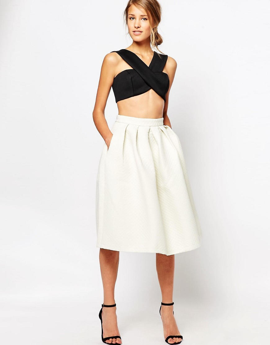 Closet Quilted Jacquard Midi Skirt Cream - length: below the knee; pattern: plain; style: full/prom skirt; fit: loose/voluminous; waist: high rise; predominant colour: ivory/cream; fibres: polyester/polyamide - 100%; occasions: occasion; hip detail: adds bulk at the hips; waist detail: feature waist detail; pattern type: fabric; texture group: other - light to midweight; season: s/s 2016; wardrobe: event