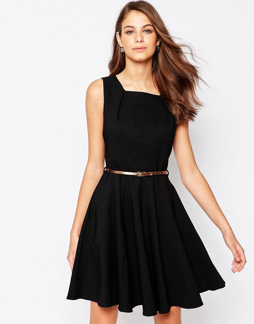Closet Belted Skater Dress With Panelling Black - length: mid thigh; pattern: plain; sleeve style: sleeveless; waist detail: belted waist/tie at waist/drawstring; predominant colour: black; occasions: evening, occasion; fit: fitted at waist & bust; style: fit & flare; fibres: polyester/polyamide - stretch; hip detail: subtle/flattering hip detail; sleeve length: sleeveless; neckline: medium square neck; pattern type: fabric; texture group: jersey - stretchy/drapey; season: s/s 2016; wardrobe: event