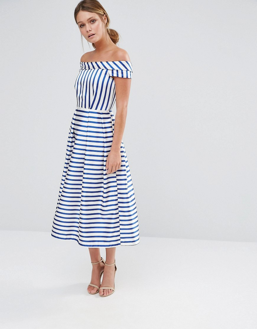 Closet Stripe Off The Shoulder Dress Blue & White - length: calf length; neckline: off the shoulder; sleeve style: capped; style: full skirt; pattern: striped; predominant colour: white; secondary colour: navy; occasions: evening; fit: fitted at waist & bust; fibres: polyester/polyamide - 100%; sleeve length: short sleeve; pattern type: fabric; texture group: woven light midweight; multicoloured: multicoloured; season: s/s 2016; wardrobe: event
