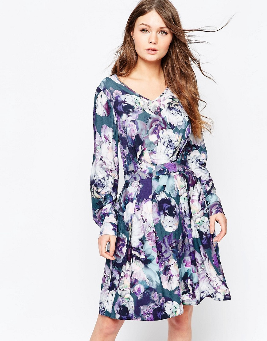 Closet V Neck Long Sleeve Dress In Floral Print Multi - neckline: v-neck; secondary colour: white; predominant colour: navy; occasions: casual; length: on the knee; fit: fitted at waist & bust; style: fit & flare; fibres: viscose/rayon - 100%; sleeve length: long sleeve; sleeve style: standard; pattern type: fabric; pattern size: big & busy; pattern: florals; texture group: woven light midweight; multicoloured: multicoloured; season: s/s 2016; wardrobe: highlight