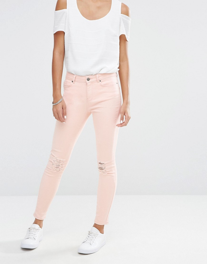 Busted Knee Skinny Jeans Cream Tan - style: skinny leg; length: standard; pattern: plain; pocket detail: traditional 5 pocket; waist: mid/regular rise; predominant colour: blush; occasions: casual; fibres: cotton - stretch; texture group: denim; pattern type: fabric; jeans detail: rips; season: s/s 2016; wardrobe: highlight