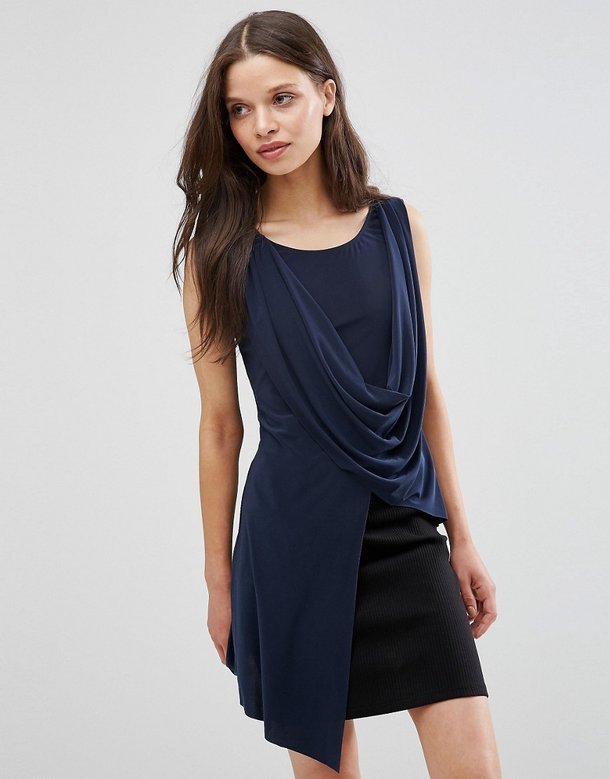 Drape Asymmetric Top Navy - neckline: round neck; pattern: plain; sleeve style: sleeveless; length: below the bottom; style: tunic; predominant colour: navy; occasions: evening, creative work; fibres: polyester/polyamide - stretch; fit: body skimming; sleeve length: sleeveless; pattern type: fabric; texture group: jersey - stretchy/drapey; season: s/s 2016; wardrobe: basic