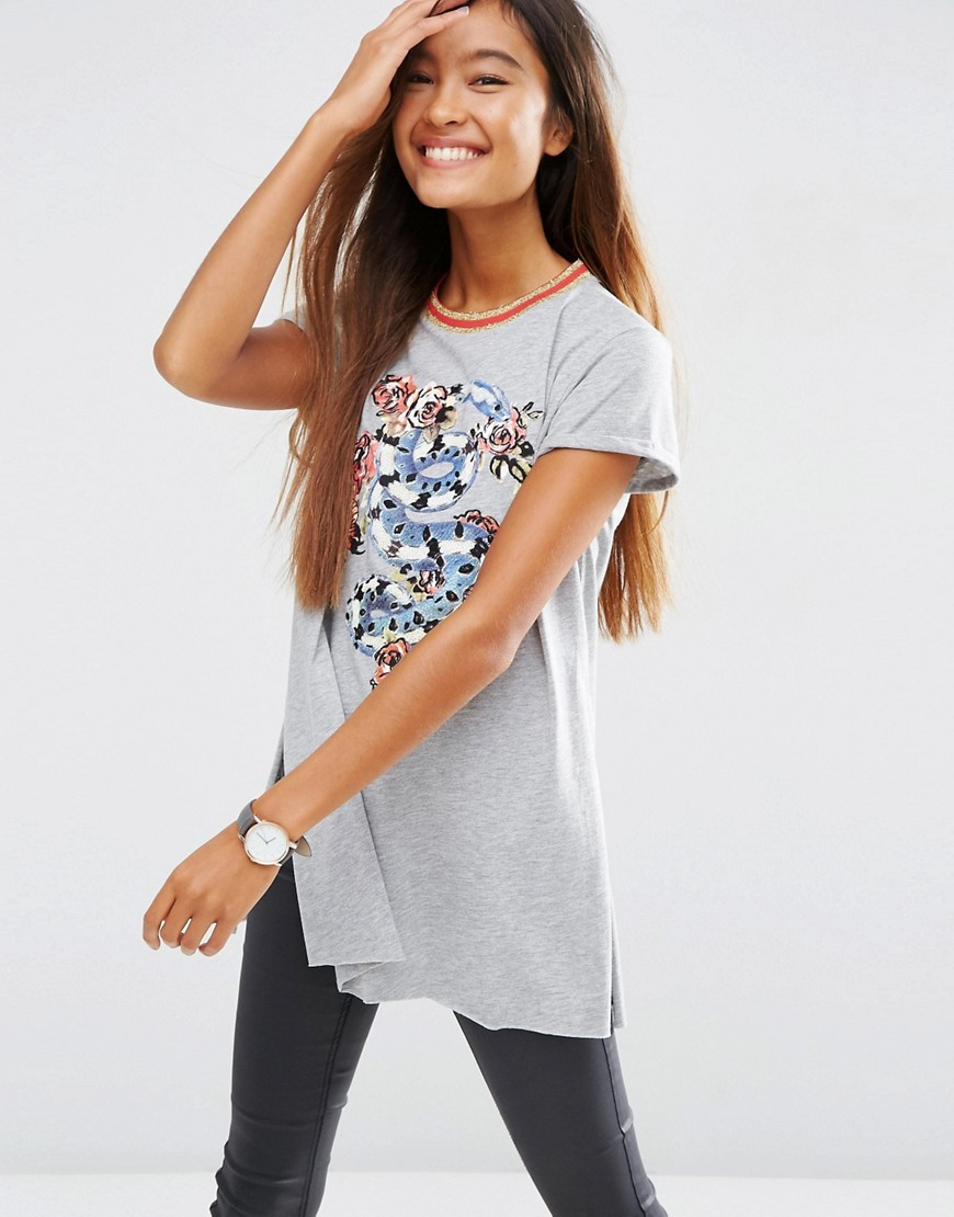 T Shirt With Chinoserie Print And Emboridery With Sparkly Tipping Grey Marl - length: below the bottom; style: t-shirt; secondary colour: pale blue; predominant colour: light grey; occasions: casual; fibres: polyester/polyamide - mix; fit: body skimming; neckline: crew; sleeve length: short sleeve; sleeve style: standard; pattern type: fabric; pattern: patterned/print; texture group: jersey - stretchy/drapey; multicoloured: multicoloured; season: s/s 2016; wardrobe: highlight