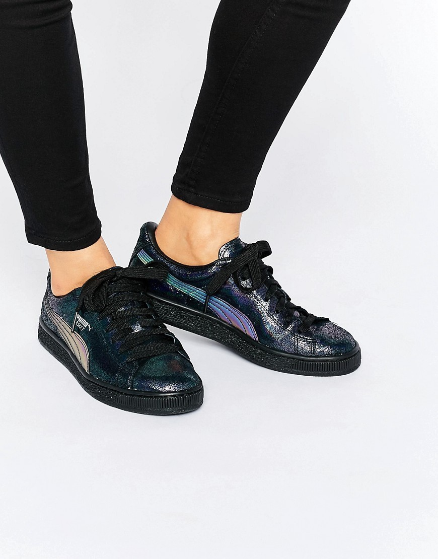 Basket Sneakers Black - secondary colour: lilac; predominant colour: black; occasions: casual; material: leather; heel height: flat; toe: round toe; style: trainers; finish: plain; pattern: plain; shoe detail: moulded soul; season: s/s 2016
