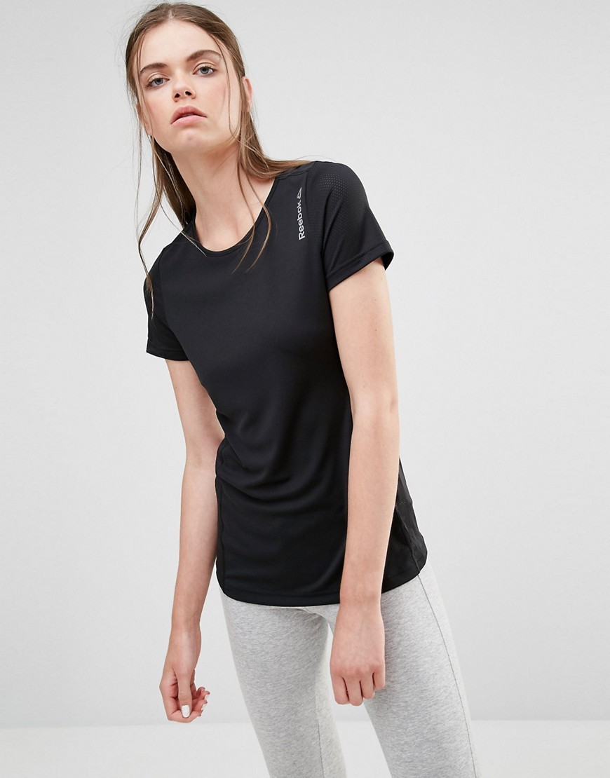 T Shirt Black - pattern: plain; style: t-shirt; hip detail: fitted at hip; predominant colour: black; occasions: casual; length: standard; fibres: polyester/polyamide - 100%; fit: body skimming; neckline: crew; sleeve length: short sleeve; sleeve style: standard; pattern type: fabric; texture group: jersey - stretchy/drapey; season: s/s 2016; wardrobe: basic