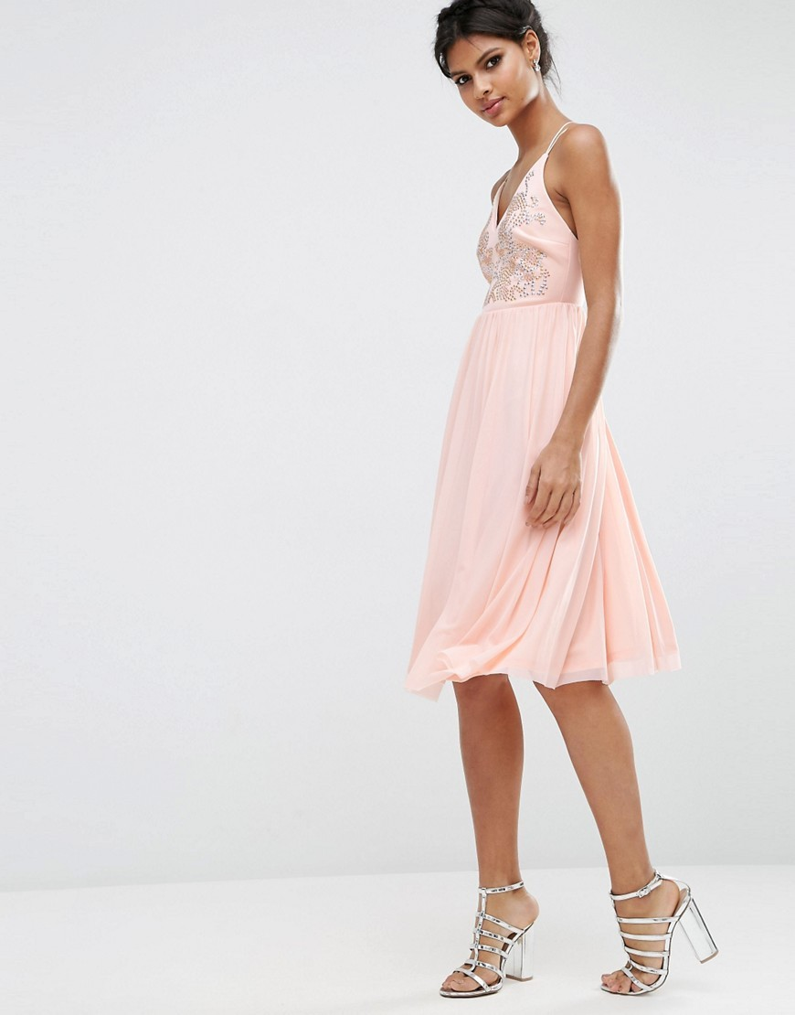 Mesh Skirt Embellished Hotfix Midi Prom Dress Nude - neckline: low v-neck; sleeve style: spaghetti straps; pattern: plain; style: prom dress; predominant colour: blush; occasions: evening; length: on the knee; fit: fitted at waist & bust; fibres: polyester/polyamide - stretch; sleeve length: sleeveless; pattern type: fabric; texture group: other - light to midweight; embellishment: crystals/glass; season: s/s 2016; wardrobe: event; embellishment location: bust