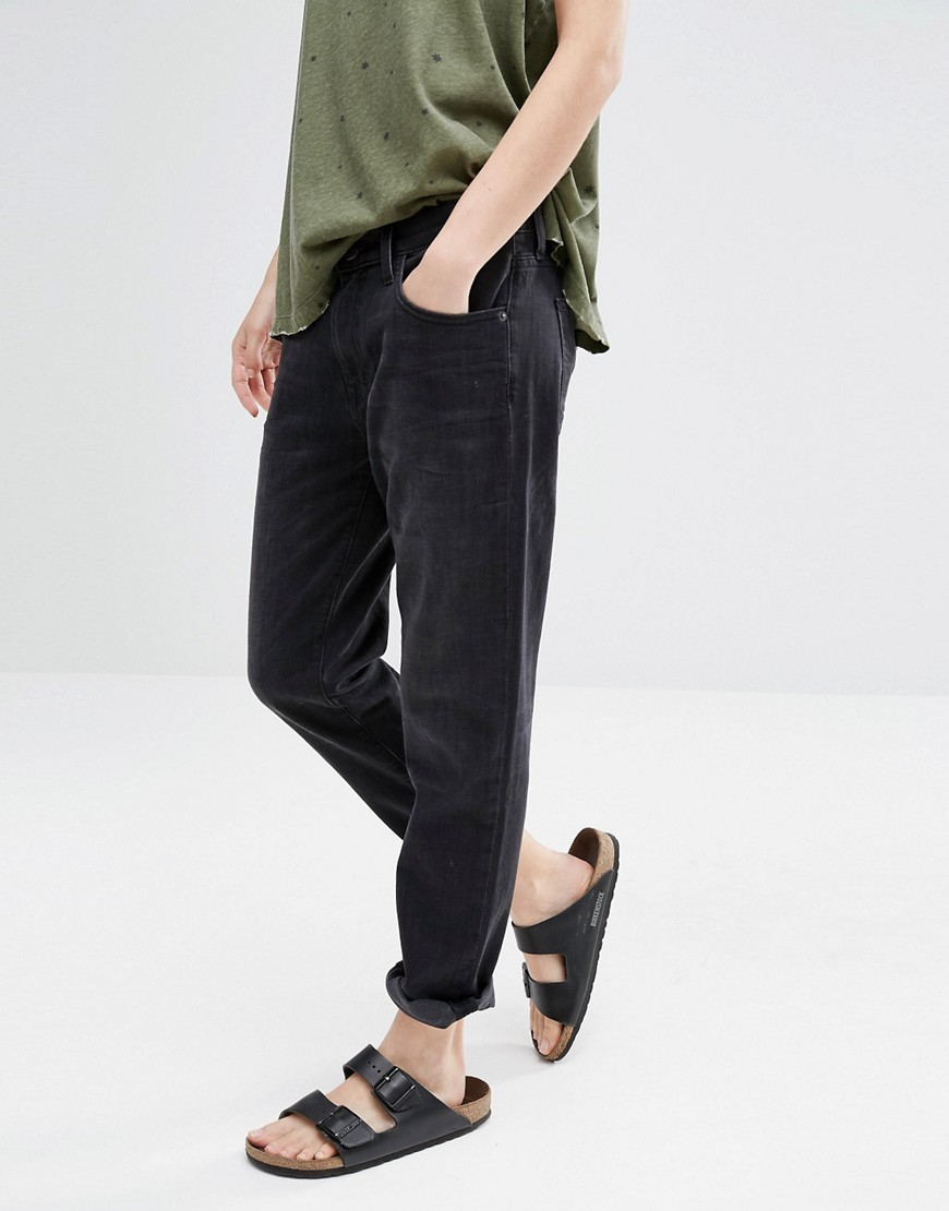 Current Elliot Fling Boyfriend Jeans With Rolled Hem Washed Black - style: boyfriend; pattern: plain; pocket detail: traditional 5 pocket; waist: mid/regular rise; predominant colour: black; occasions: casual; length: ankle length; fibres: cotton - stretch; texture group: denim; pattern type: fabric; season: s/s 2016; wardrobe: basic