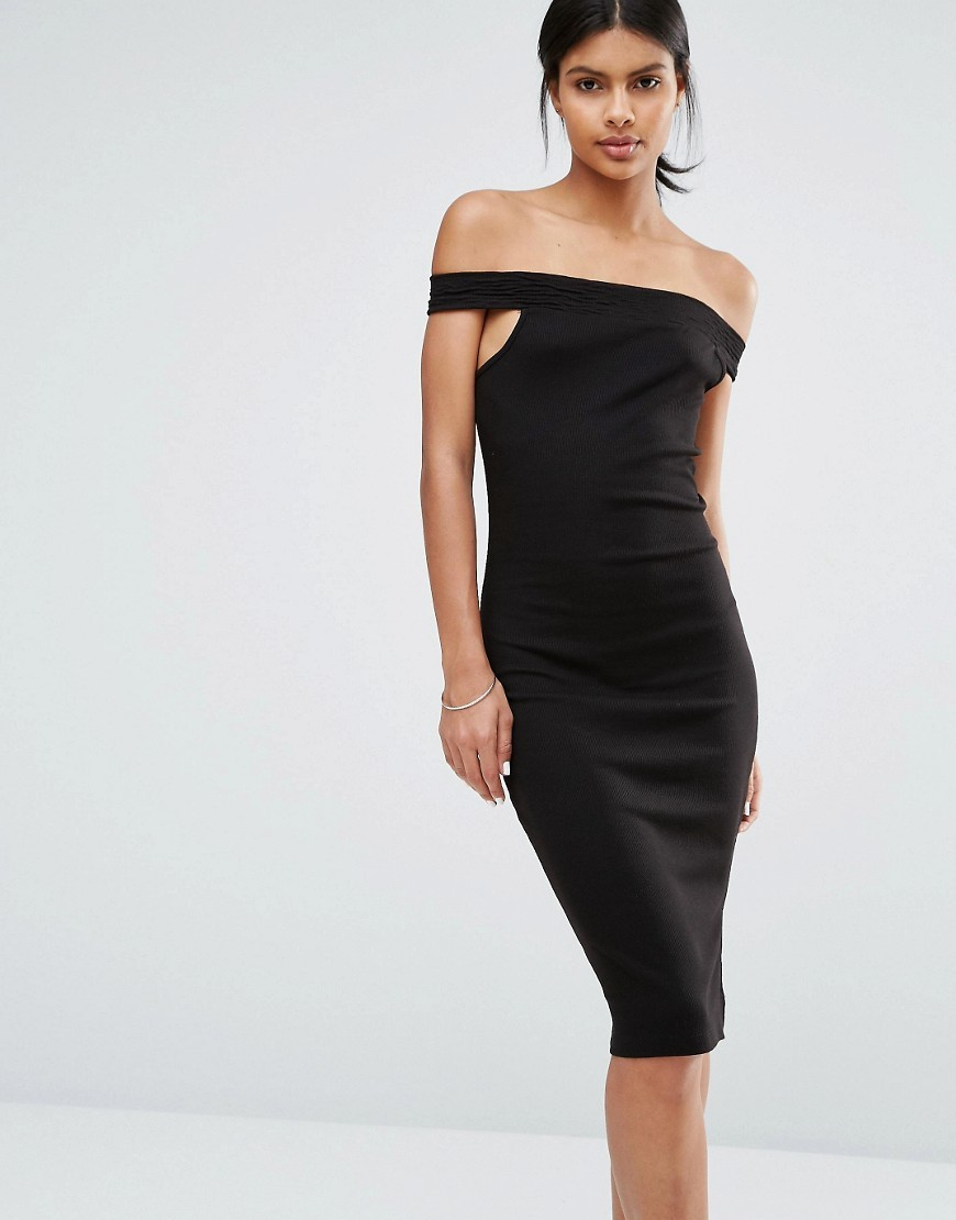 Bodycon Off The Shoulder Dress Black - length: below the knee; neckline: off the shoulder; sleeve style: capped; fit: tight; pattern: plain; style: bodycon; predominant colour: black; occasions: evening; fibres: cotton - stretch; sleeve length: short sleeve; texture group: jersey - clingy; pattern type: fabric; season: s/s 2016; wardrobe: event