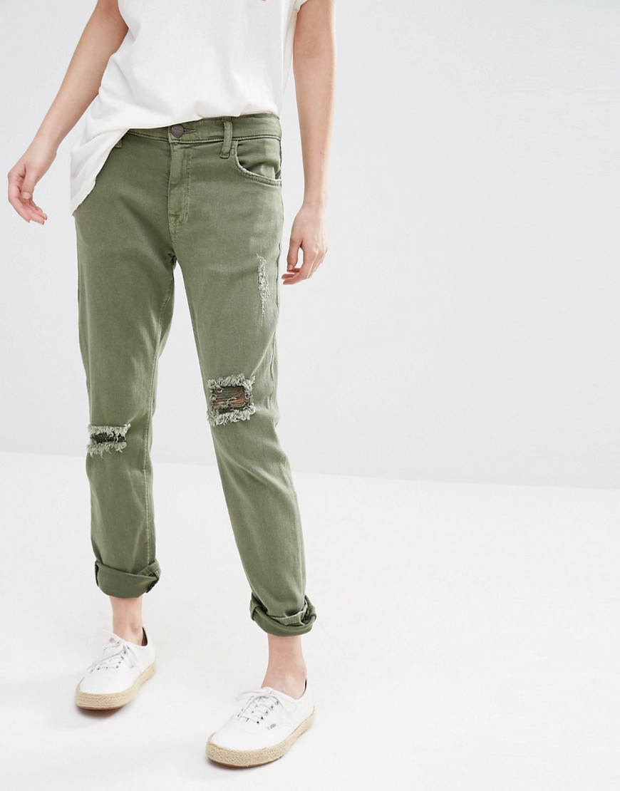 Current Elliott Slim Boyfriend Jeans With Rips Khaki - style: boyfriend; length: standard; pattern: plain; pocket detail: traditional 5 pocket; waist: mid/regular rise; predominant colour: khaki; occasions: casual; fibres: cotton - stretch; texture group: denim; pattern type: fabric; jeans detail: rips; season: s/s 2016; wardrobe: highlight