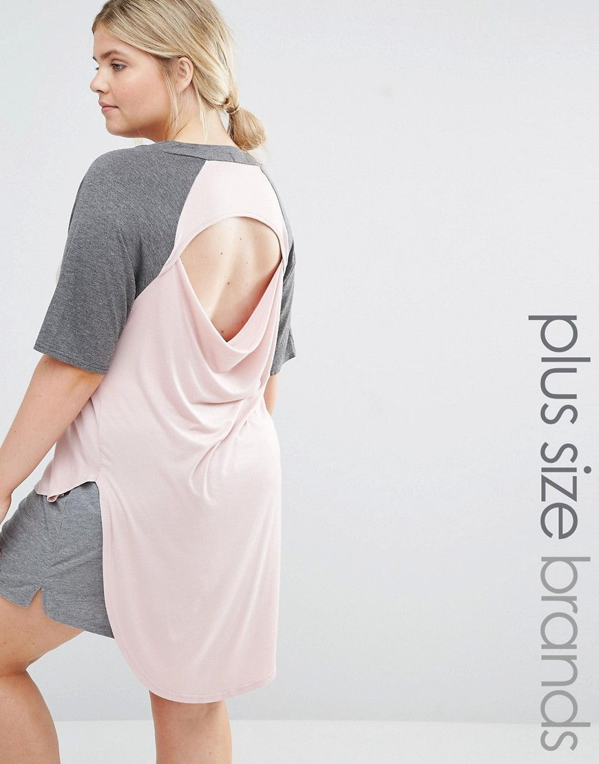 Lounge Dip Hem Raglan Tee With Drape Back Grey - style: t-shirt; predominant colour: blush; secondary colour: mid grey; occasions: casual; fibres: viscose/rayon - stretch; fit: body skimming; neckline: crew; length: mid thigh; sleeve length: half sleeve; sleeve style: standard; pattern type: fabric; pattern: colourblock; texture group: jersey - stretchy/drapey; season: s/s 2016; wardrobe: highlight