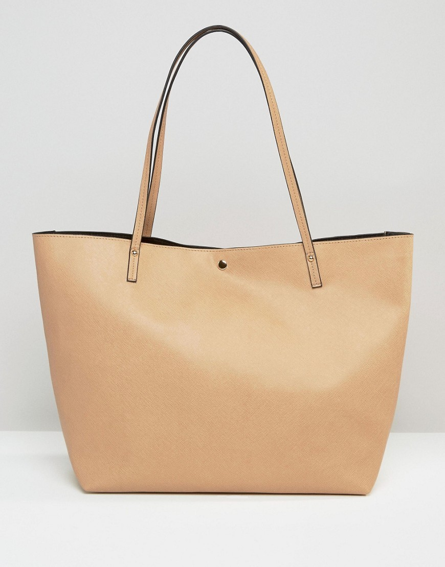 Bonded Shopper Bag Camel - predominant colour: nude; occasions: casual, work, creative work; type of pattern: standard; style: tote; length: shoulder (tucks under arm); size: standard; material: faux leather; pattern: plain; finish: plain; season: s/s 2016; wardrobe: investment
