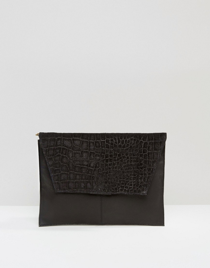 Croc Embossed Suede And Leather Clutch Bag Black - predominant colour: black; occasions: evening; type of pattern: standard; style: clutch; length: hand carry; size: standard; material: leather; pattern: plain; finish: plain; season: s/s 2016; wardrobe: event