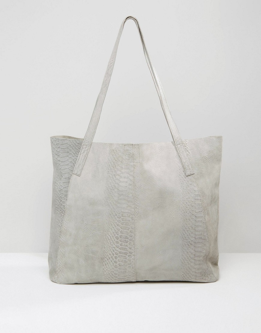 Snake Embossed Suede Shopper Bag Grey - predominant colour: light grey; occasions: casual, work, creative work; type of pattern: small; style: tote; length: shoulder (tucks under arm); size: standard; material: suede; pattern: plain; finish: plain; season: s/s 2016; wardrobe: investment