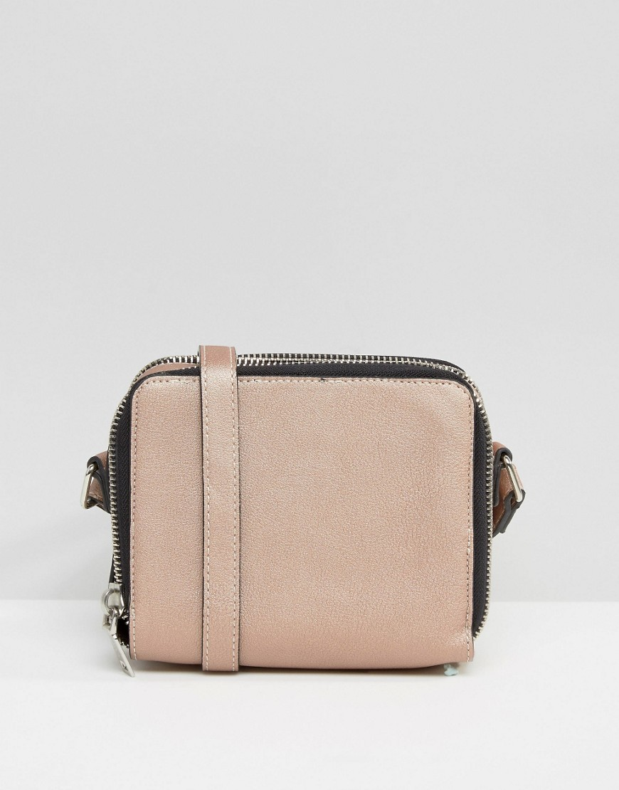 Double Pocket Handbag Pink - predominant colour: blush; occasions: casual, creative work; type of pattern: standard; style: shoulder; length: shoulder (tucks under arm); size: small; material: faux leather; pattern: striped; finish: plain; season: s/s 2016; wardrobe: highlight