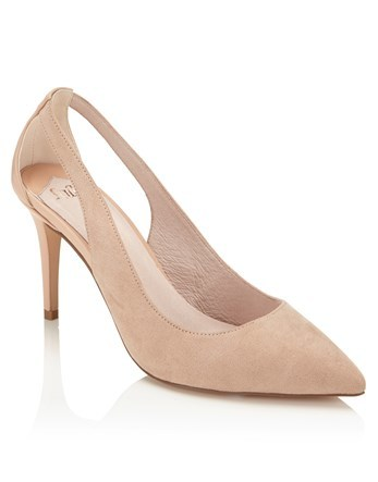 Open Sided Court - predominant colour: nude; occasions: evening; heel height: high; heel: stiletto; toe: pointed toe; style: courts; finish: plain; pattern: plain; material: faux suede; season: s/s 2016; wardrobe: event