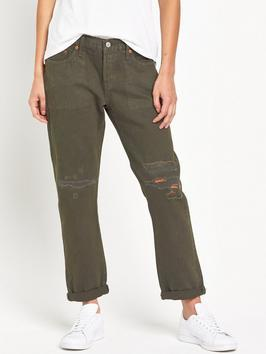 501 Ct Ripped Jean - style: boyfriend; pattern: plain; waist: low rise; pocket detail: traditional 5 pocket; predominant colour: khaki; occasions: casual; length: ankle length; fibres: cotton - stretch; texture group: denim; pattern type: fabric; season: s/s 2016; wardrobe: highlight